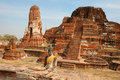 Temple of Wat Mahatat and Buddha in Ayutthaya Stock Photo