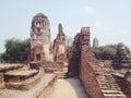 Temple wat mahathat in ayutthaya historical park thailand Royalty Free Stock Image