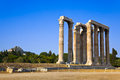 Temple of zeus and lycabettus hill at athens greece travel background Stock Images