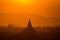 The temples of bagan at sunrise bagan myanmar pagan Royalty Free Stock Photos