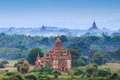 The temples of bagan at sunrise bagan myanmar pagan Stock Photos