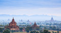 The temples of bagan at sunrise bagan myanmar pagan Stock Photography