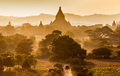 The temples of bagan at sunrise bagan myanmar pagan Royalty Free Stock Photo