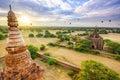 The Temples of Bagan at sunrise, Bagan, Myanmar Royalty Free Stock Photo