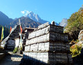 Temples mani wall the secrete religious monuments of buddhism Royalty Free Stock Photos