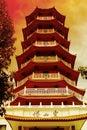 Templo chino - pagoda de siete niveles - tono rojo Imagenes de archivo