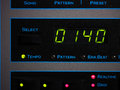 Tempo of song screen a synthesizer with front macro shot with focus in image center Royalty Free Stock Image