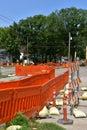 Street improvement in a city neighborhood Royalty Free Stock Photo