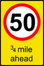 Temporary speed limit ahead sign Stock Photo
