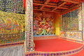 Temporary temple artistic work of the inside view of a marquee during durga idol worship every year thematically puja pandal Stock Photography