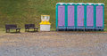 Temporary toilet outdoor mobile in the park Stock Photos