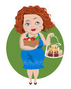 Temptation red haired girl holds a bag of vegetables in one hand and a cake in another Stock Photo