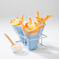 Tempura prawns and fries served with tartar sauce Royalty Free Stock Photography