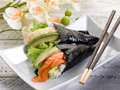 Tempura and sake temaki Royalty Free Stock Photos