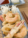Tempura of Seafood with chili Sauce and Mouli Stock Images