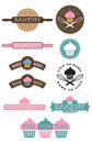 Ten bakery and cupcake badges set of design elements easy to edit shapes colours live to bake bake to live Royalty Free Stock Image