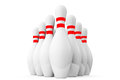 Ten bowling pins on a white background Stock Photography
