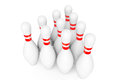 Ten bowling pins on a white background Royalty Free Stock Photo