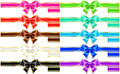 Ten bows with golden edging and ribbons vector illustration collection of silk eps rgb created gradient mesh Stock Photos