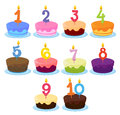 Ten cakes illustration of with candle numbers on it Royalty Free Stock Photos