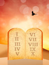 Ten commandments illustration of the tables of the Stock Photography