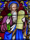 Stained glass window depicting Moses