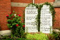 The ten commandments stone tablets with on them gods laws written in stone for catholic church Royalty Free Stock Photo