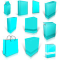 Ten cyan blank boxes on white background ready to be personalized by you Royalty Free Stock Images