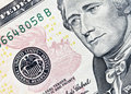 Ten dollar bill focus on federal reserve seal Royalty Free Stock Photo