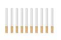 Ten drawn cigarettes on a white background Royalty Free Stock Photo