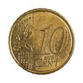 Ten euro cents detailed shoot of Royalty Free Stock Photos