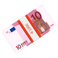 Ten euro pack banknotes on a white background Royalty Free Stock Image