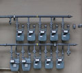 Ten Gas Meters Stock Photography