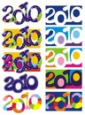 Ten New Year's backgrounds with number 2010 Stock Image