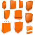 Ten orange blank boxes isolated on white background ready to be personalized by you Royalty Free Stock Photography