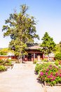 Ten party temple shifang temple and peony flowers in the courtyard was built tang dynasty it is situated Stock Image
