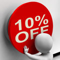 Ten percent off button shows markdown sale Royalty Free Stock Images