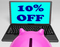 Ten percent off laptop shows savings on web showing Stock Images