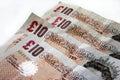 Ten Pound notes Royalty Free Stock Photo