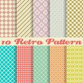 Ten retro different vector seamless patterns tiling endless texture can be used for wallpaper pattern fills web page background Royalty Free Stock Photo