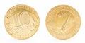 Ten russian rubles coin isolated Imagem de Stock