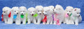 Ten Samoyed dog puppies Stock Photos