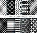Ten seamless monochrome pattern no gradients Royalty Free Stock Photo