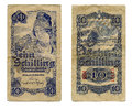 Ten shilling banknote from old invalid austrian Royalty Free Stock Photography