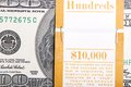 Ten thousand dollar bankroll american bill close up background Royalty Free Stock Images
