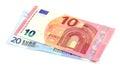 Ten and twenty euros on a white background Royalty Free Stock Photo