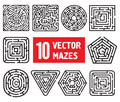 Ten vector mazes different black and white shapes Royalty Free Stock Image
