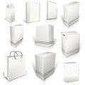 Ten white blank boxes  on white Royalty Free Stock Photo