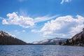 Tenaya lake with optical phenomena in sky