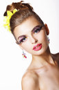 Tendency futurism showy fashion model with long eyelashes trendy modelyoung woman lashes Stock Photo